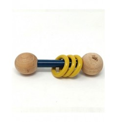 Ariro Wooden Dumbbell rattle - Blue and Yellow