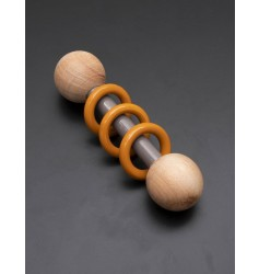 Ariro Wooden Dumbbell Rattle - Grey and Orange