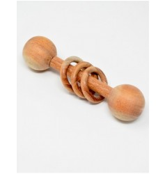 Ariro Dumbbell rattle with wooden rings