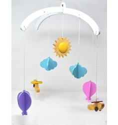 Ariro Wooden Mobile- Planes and  Hot Air Balloon
