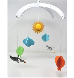 Ariro Wooden Mobile- Hot Air Balloon and seagulls