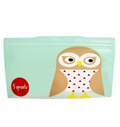 3 Sprouts Resuable Snack Bag (Pack Of 2) - Owl