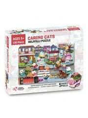 Chalk and Chuckles Helpfilli Cat 100 Piece Jigsaw Puzzle - Ages 5 and Up, Educational Puzzle Games, Social and Emotional Skills for Kids and Adults, 24 x 16.5 Inches