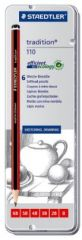 Staedtler Tradition 110 Sketching And Drawing Pencils, Pack Of 6 (HB, 2B, 3B, 4B, 5B, 6B)