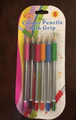 Colour Pencils with Grip (6 Shades)